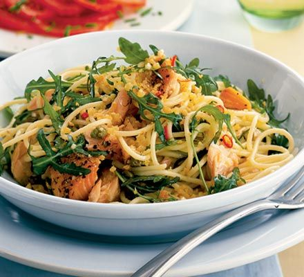 Spaghetti with smoked salmon, rucola & capers  125ml extra-virgin olive oil  25g fresh white breadcrumbs  500g spaghetti  2 garlic cloves  2 tiny dried bird's eye chillies , finely crumbled, or a quarter tsp crushed chillies  finely grated zest 1 lemon  4 tbsp capers in brine, drained  85g rocket leaves  200g hot-smoked salmon , flaked  sliced tomatoes , to serve