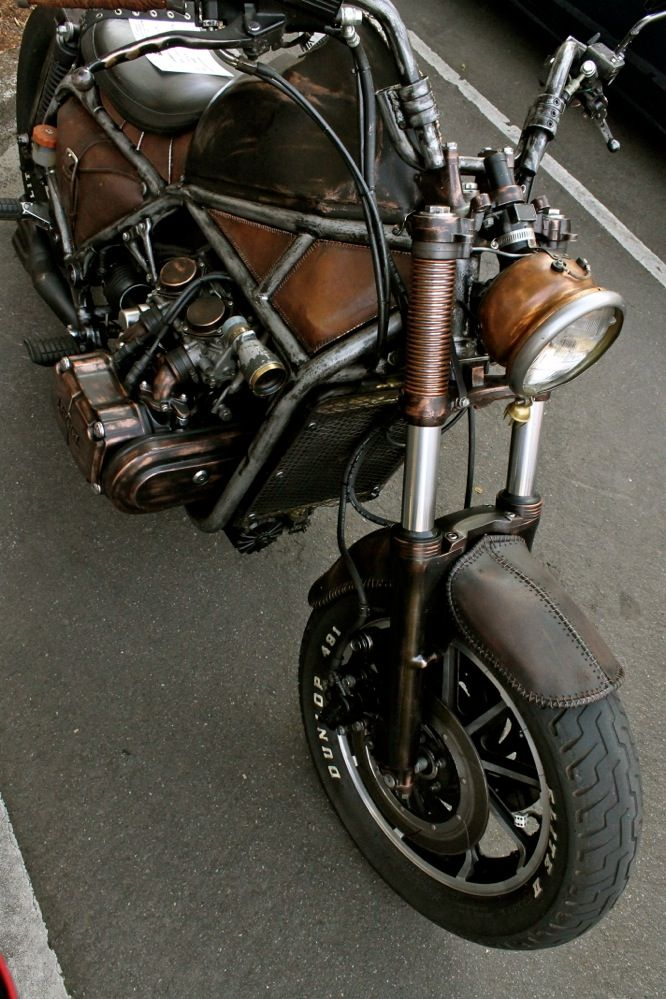 Steampunk bike.  Looks like it started out as a Goldwing.