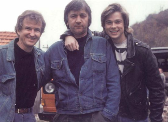 Co-screenwriter Andy Horton, director Bozidar Nikolic, and 24-year-old Brad Pitt on the set in Yugoslavia - Dark Side of the Sun