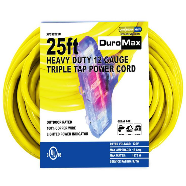 Duromax Xpc12025c 25 Ft 12 3 Gauge Triple Tap Extension Power Cord Xpc12025c Cord Outdoor Extension Cord Copper Wire Lights
