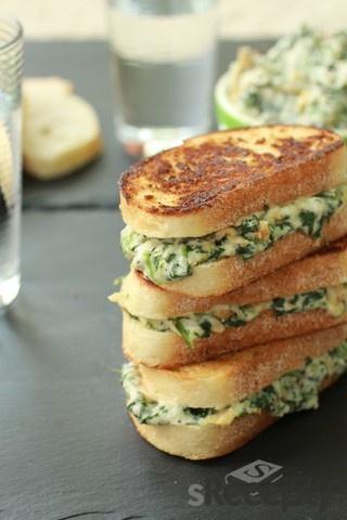 Sandwich de espinacas (Spinach sandwich) http://www.srecepty.es/receta/sandwich-de-espinaca-y-alcachofa