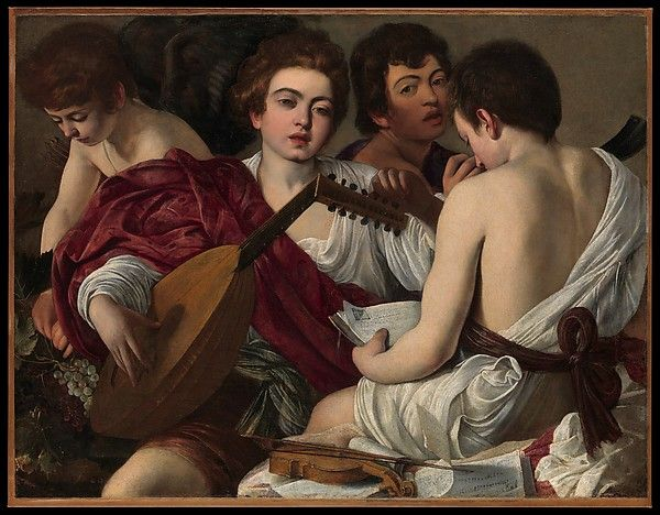 "Caravaggio (Michelangelo Merisi) (Italian, Milan or Caravaggio 1571–1610 Porto Ercole). The Musicians, ca. 1595. The Metropolitan Museum of Art, New York. Rogers Fund, 1952 (52.81) | Although it was described by contemporaries as ""una musica"" (a music piece), this painting is often interpreted as an allegory of music and love with Cupid depicted at left."