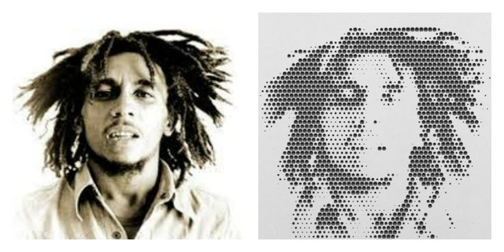 Mill your favorite pictures into wood with the online web-app from #Halvtone #bobmarley #reggae #Jamaica #rasta #dreadlocks #blackwhite #wood #weed #interior #design #living #CNC #machine #milling