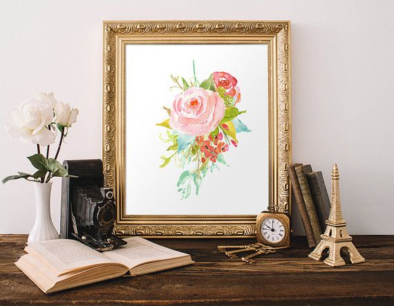 Imprimé floral 5 x 7 8 x 10 Télécharger Instant aquarelle Art Floral imprimable pépinière Decor Guest Room Decor Decor minable Cottage Decor Chic rose