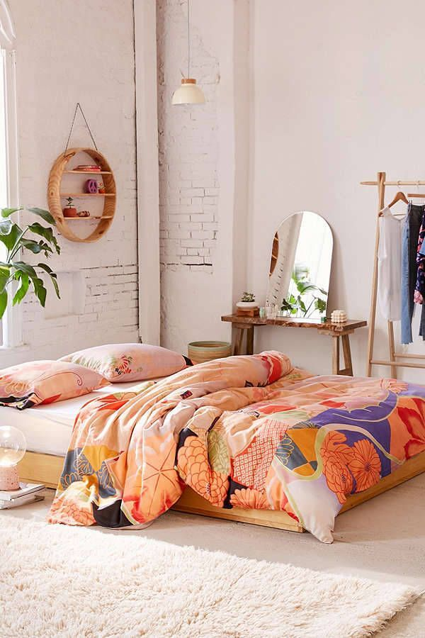 Bedroom | shop the room: duvet cover - mirror - shelf - lamp - Follow Gravity Home: Blog - Instagram - Pinterest - Facebook - Shop