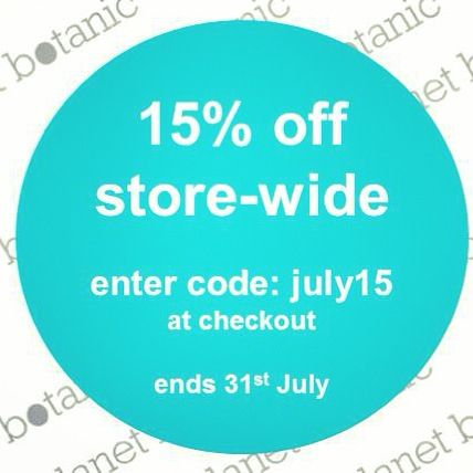 Last chance beauty lovers! 15% OFF all our natural and organic skincare and baby products until MIDNIGHT tonight! Don't miss out, we've got heaps of new prods in store including @blackchickenremedies and @blissomasolutions. Just enter 'july15' after your payment details at checkout. Happy shopping! Www.planetbotanic.com.au