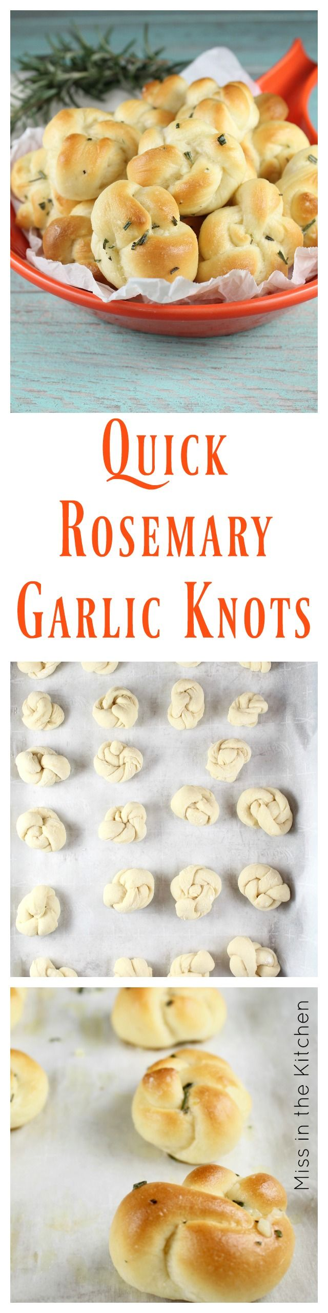 Quick Rosemary Garlic Knots Recipe ~ Perfect dinner roll or serve as an appetizer. Made with Red Star Yeast - MissintheKitchen.com #ad