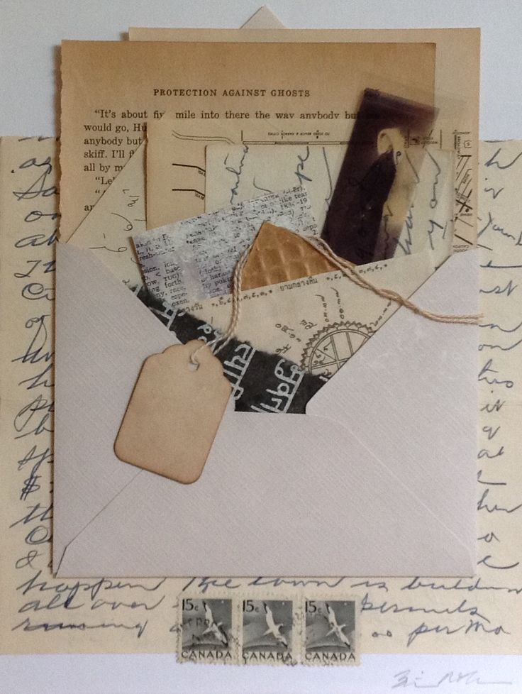 """""""Attic Letter."""" Mixed media collage from Salon de Refuse Studio. Artist Rita McNamara. 9.5"""" X 7""""."""