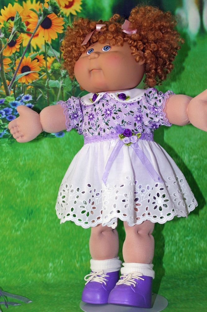 Cabbage Patch Doll Cloths- Purple/White - panties - 2 hair bows - Fits 16 in. #CabbagePatchKids