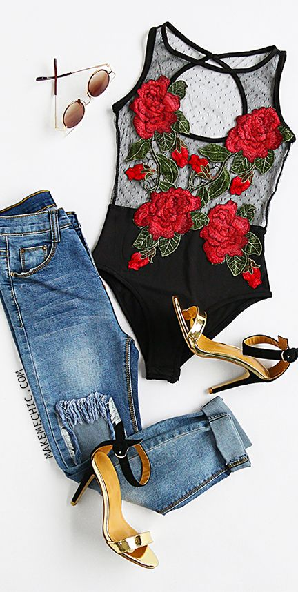 Black Rose Embroidered Cutout Back Mesh Bodysuit
