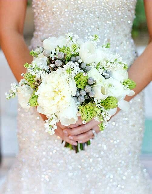 Beautiful Bridal Bouquet Arranged With: White Peonies, White Tulips, White Lilac, Star Of Bethlehem, Silver Brunia