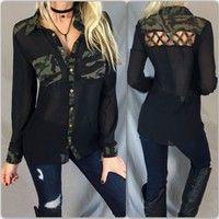 Wish   Women Ladies Sexy Cutout Back Detail Camouflage Chiffon Button Shirt Long Sleeve Tops Blouse