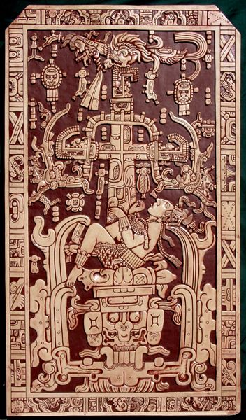 Palenque Image is an ancient Mexican artefact. It was the lid of sarcophagus found in a pre-Columbian temple in Palenque. This image has given rise to a lot of speculation over the possibility of human's contact with ancient astronauts in ancient times. This coffin cover has an elaborate design that shows a person piloting a sort of mechanical craft, which can be a spacecraft. (603-683 AD):