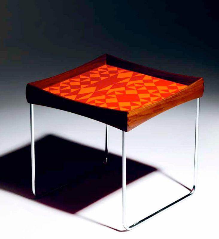 60 Mid Century Modern Vintage Half Moon Coffee Table: Hermann Bongard; Chromed Metal, Teak And Enameled Metal