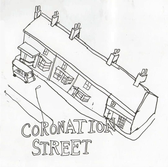 While watching Coronation street the other night an idea struck me. The show depicts everyday working class brits and their life dramas, in a nostalgic, sentimental light. It presents an unrealistic view of working class existence and community as being very simple, comfortable and safe. Working at a chip shop or garage and centering your social life around the local pub is shown to be a satisfying way of living.