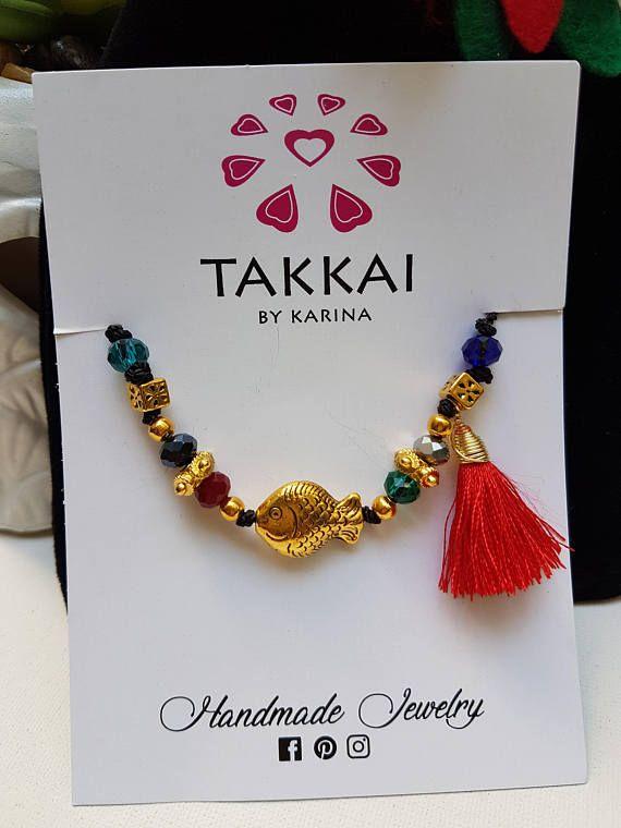 51655280a0c5 Pulsera de Cordón Ajustable de Pescado Tibetano  tassels  cordbracelets   giftsforher  giftideas  pulseras  bohojewelry