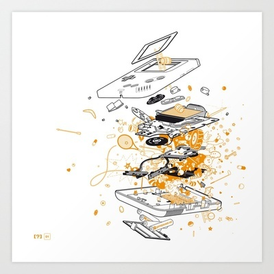 NEW: Exploded Game Boy Art Print by gamepaused - $20.00