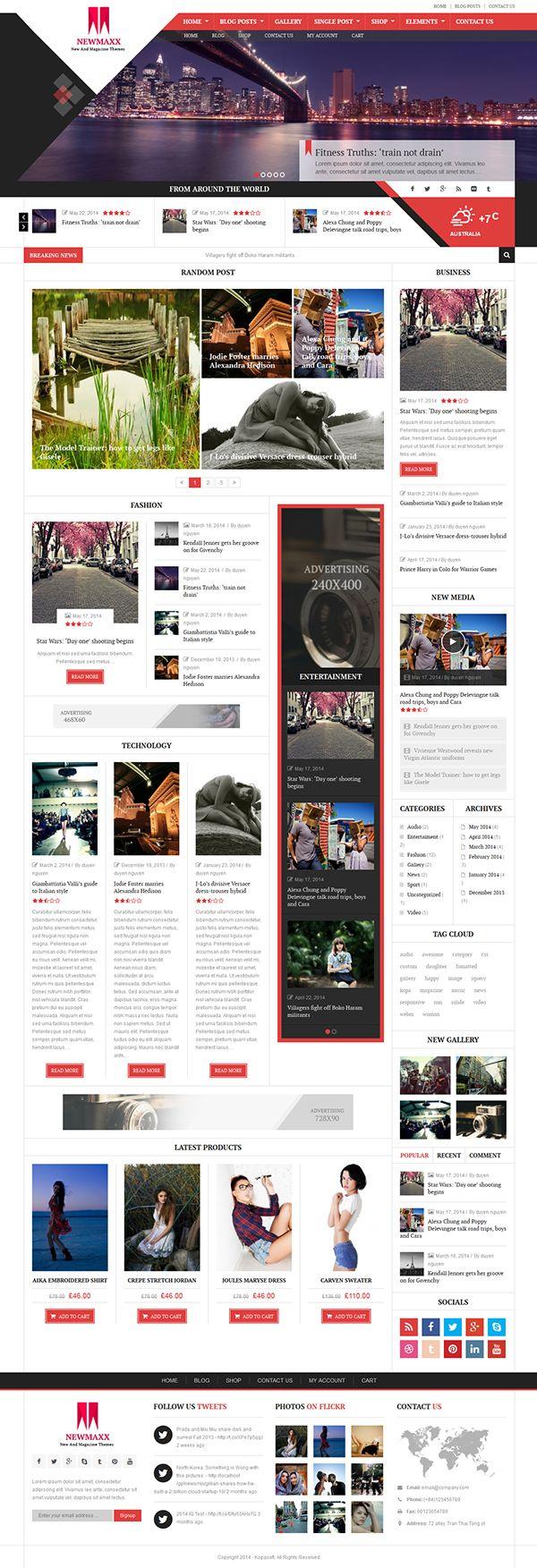 New Maxx WordPress blog theme by Themes Awards, via Behance