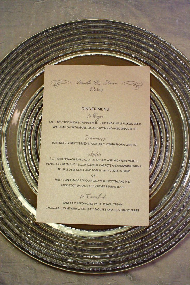 Custom Wedding Reception Dinner Menu Rsvp Events Paper Products Pinterest And Receptions