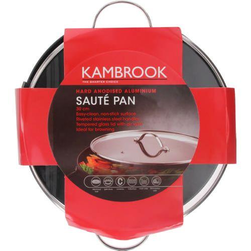 Hard Anodised Aluminium Sauté Pan with Glass Lid