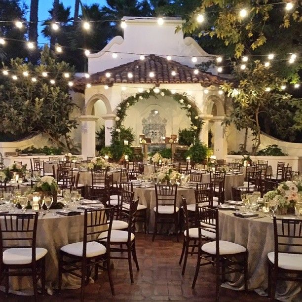 Amazing outdoor evening wedding reception at Rancho Las Lomas with overhead bistro lighting [Instagram photo by A Good Affair Wedding & Event Production (Natalie Good) | Statigram] www.agoodaffair.com