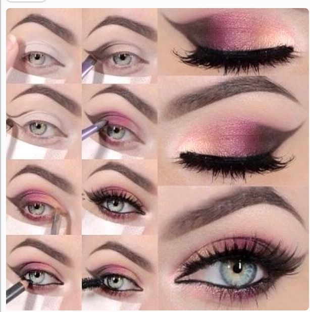Eyeshadow tutorial with brown, pink, gold colours. These colours look stunning together and will work on all coloured eyes. Winged edges can be added for an evening look.