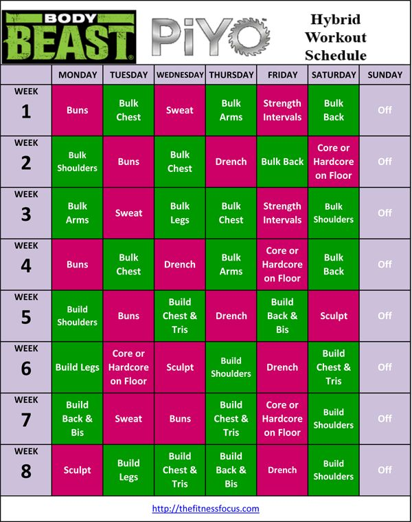 PiYo Hybrid Workout Schedules.  I am loving PiYo, but would like to mix up just a bit!