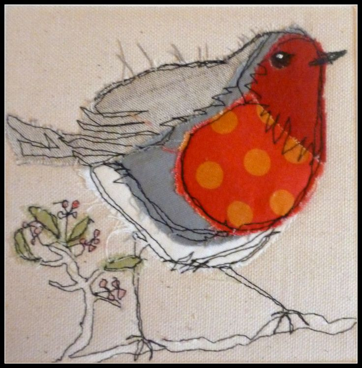Polka dot fun! Machine stitched fab * Hand embroidery * embroidered * DIY inspiration * Quilt square * Altered Art * paper piecing * nursery art * bird and berries *  * vintage style *
