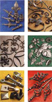 Scrolls and Gate Tops, Circles and Baskets, Rosettes Flowers and Leaves, Shaped Bars, Plain Panel Units, Prestige Panel Units - Wrought Iron Components from FH Brundle