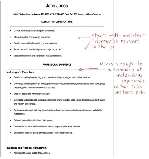What a functional government resume looks like
