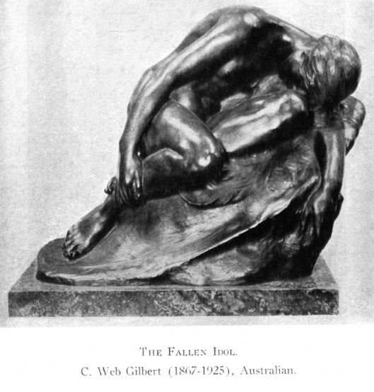 The Fallen Idol by Web Gilbert .This satisfies one of the most exacting tests of sculpture, it falls into beautiful lines no matter from what angle it is viewed.