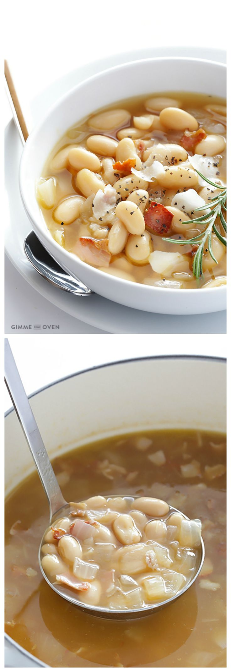Tuscan White Bean Soup -- made simple with just 7 ingredients, and so comforting and delicious | gimmesomeoven.com