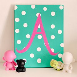 DIY Gifting: Custom Painted Initial Canvas for Baby.