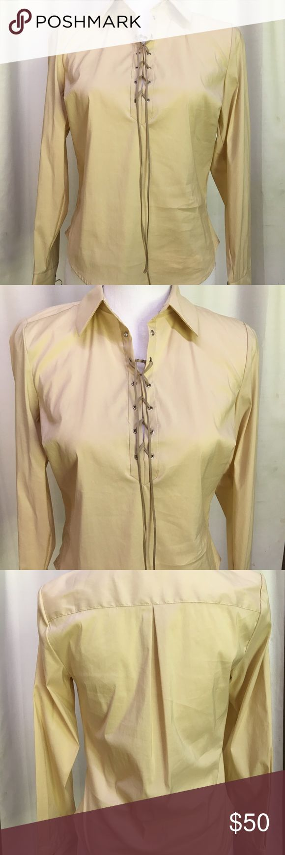 NWT DIANE VONFURSTENBURG Tan Top Lace Up Size 6 Diane Vonfurstenburg is such a great designer, she really knows how to make a woman look great!  This beautiful blouse is so classy, The look and feel of the fabric just screams luxury!   Size 6.  Feel free to ask questions. SMOKE AND PET FREE STUDIO Diane Von Furstenberg Tops Blouses