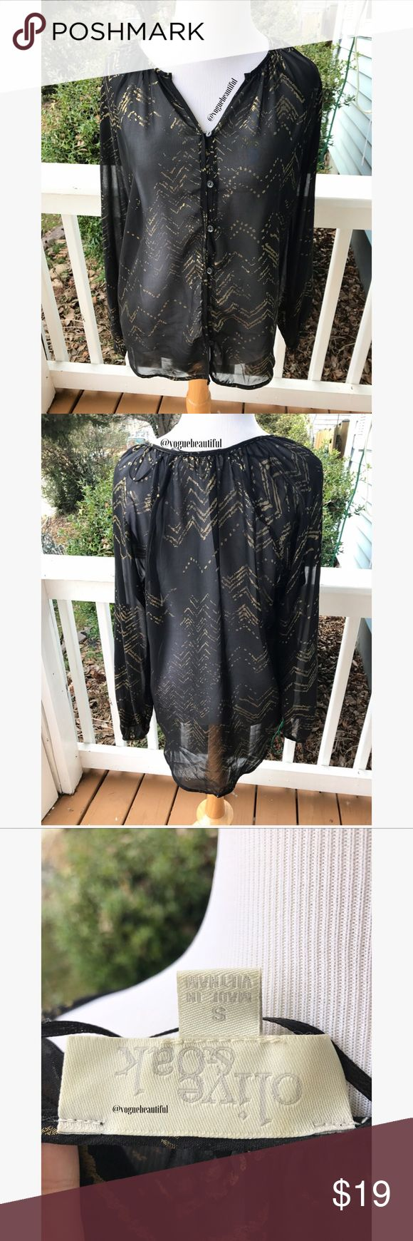 Olive & Oak Sheer Black & Gold Long Sleeve Super cute Olive & Oak sheer black & gold long sleeve top - size small - perfect with a cami underneath and a pair of jeans -  excellent condition with no stains -lightweight 100% polyester - !!NO TRADES!! Olive & Oak Tops Blouses