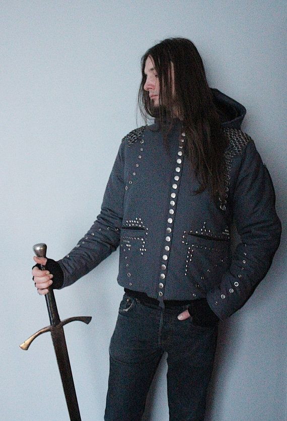 ON SALE!!!  WAS -> 249 € IS -> 169 € !!!  A mens winter jacket with detachable assassins mask, detachable chainmail pieces and decorative zips on sleeves.  Fully handcrafted. One of a kind; the only one in the world like it. As unique as you!!! Made from wool and eco leather & polyester lining.  Chest: up to 105 cm (43) Length: 75 cm (29,5)  FREE SHIPPING WORLDWIDE