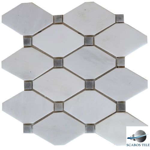 White Carrara Grey Dot Marble Diamond Mosaic Tile Kitchen Backsplash Bathroom Home Pinterest Tiles And