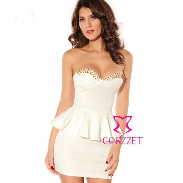 Мода женские летние золотые заклепки белое платье 2014 выкл-плечу оболочка короткие платья выпускного вечера для ну вечеринку, Свадьба, Клуб особых случаев
