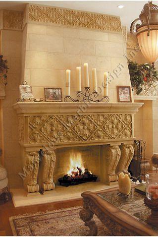 Limestone & marble Fireplace Mantel | richmond | raleigh