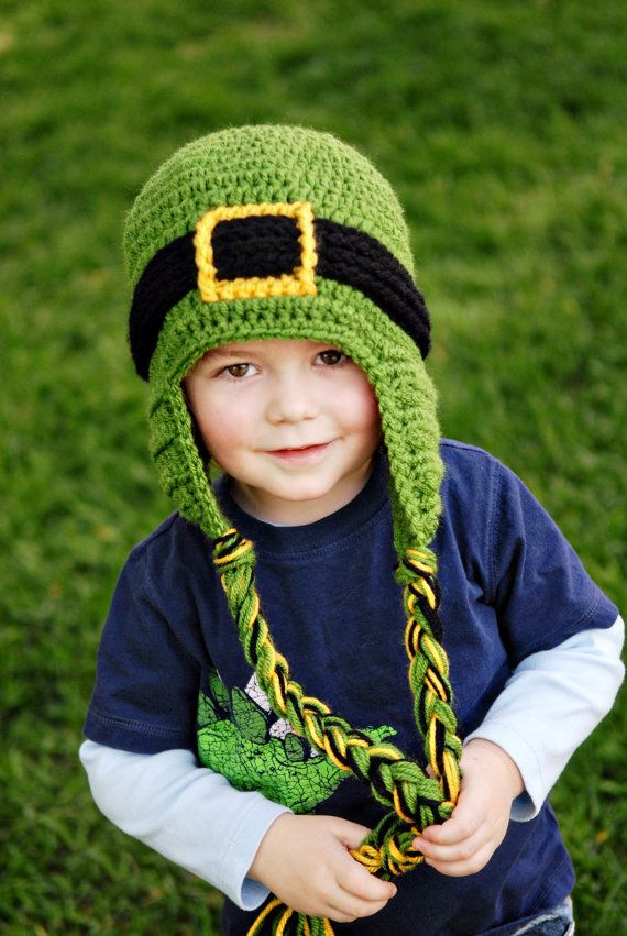 Handmade St Patrick's Day Leprechaun Crochet Kid's Hat by PlayinHookyDesigns Cute as a bug on a rug!