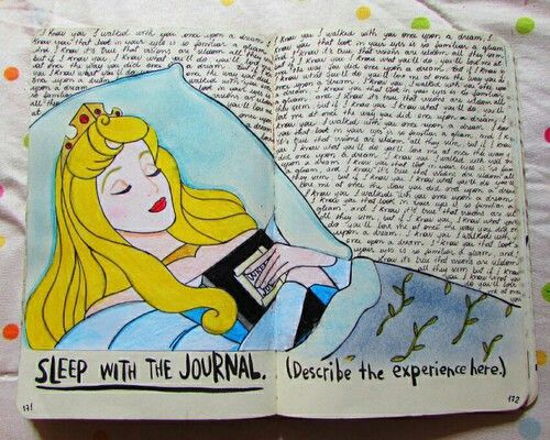 Sleep with the journal - instead of describing the experience, write down what you dreamed about (if you remember your dreams)