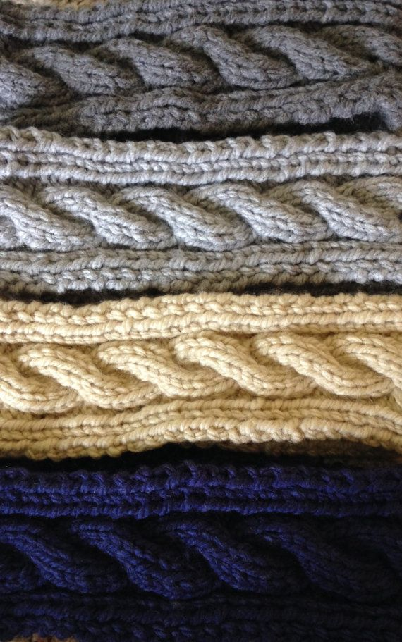 A cute and cozy way to stay warm this winter. These earbands are made with super soft yarn. Finished size is approximately 20 inches around, and will stretch to fit a variety of head sizes. Also available in blue, red, and linen (pictured).  Washer/dryer safe.