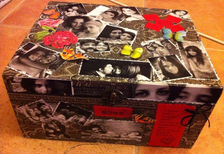 Caja decorada con fotografías, regalo perfecto para alguien especial. Hecho con la técnica del decaupage.