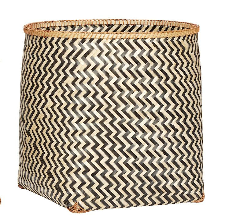 Giant Geometric Bamboo Baskets - Large: These beautiful giant woven Bamboo Baskets in an eye catching Danish design are available in three generous sizes.  Perfect for a variety of storage in any room. The large size is perfect for laundry, cushions, throws etc and all three have plenty of room for toys, clothes, towels and products etc. Striking Scandinavian Design which is guaranteed to make a stylish impact in any setting.