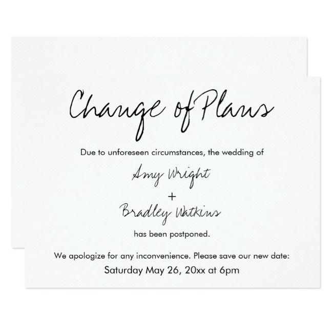 Wedding Postponement Card Modern Wedding Announcement Postponement Wedding Delay Change Of Plans Emma Wedding Postponed Announcement