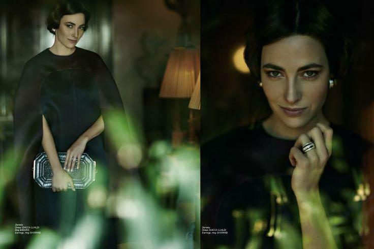 Daniela Dress Chicca Lualdi Bag Badura Earrings, ring Chopard   http://www.luxuryfiles.it/en/magazine/Winter-2013-14-8