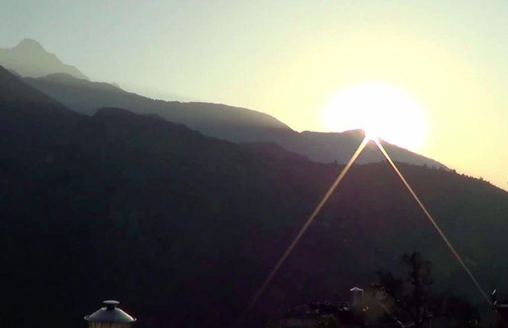 Sunrise over Mcleod Ganj, Dharamsala.  See the video here:https://www.youtube.com/watch?v=Od3Vv4Qx4Cg