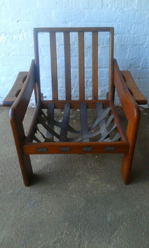 SOLD! #NorthcliffAntiques Late 20th century retro chair, one of a set of two. Wood: Kiaat. Finish: Matt.Chair Details: Has a drop-in seat with vertical slatted back.  #Johannesburg #Retro #Chair #Kiaat #Wood #Antique #Sets