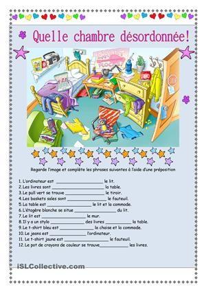 Les élèves regardent l'image et complète les phrases à l'aide d'une préposition. Feuille de réponses incluse.  - Fiches FLE
