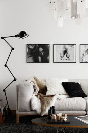 7 tips for monochrome magic. #2 Use statement lighting to define key areas.
